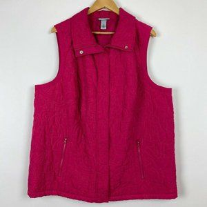 Catherines Liz and Me 2X Pink Vest Quilted Jacket
